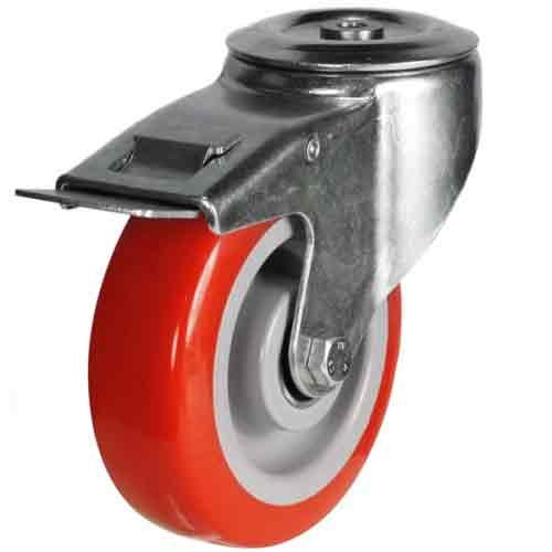 100mm Polyurethane On Nylon Centre Bolt Hole Braked Castor