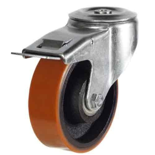100mm Polyurethane On Cast Iron Centre Bolt Hole Braked Castor