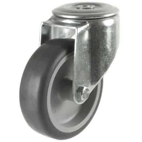 100mm Synthetic Tyre Non-Marking Bolt Hole Castor