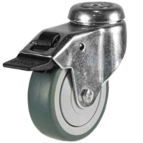 100mm Synthetic Non-Marking Rubber Bolt Hole Braked Castor