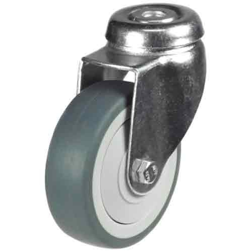 100mm Synthetic Non-Marking Rubber Bolt Hole Castor