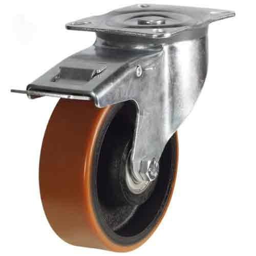 125mm Polyurethane On Cast Iron Core Braked Castor