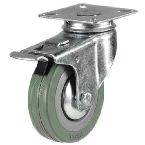 125mm Rubber Non-Marking Braked Castor