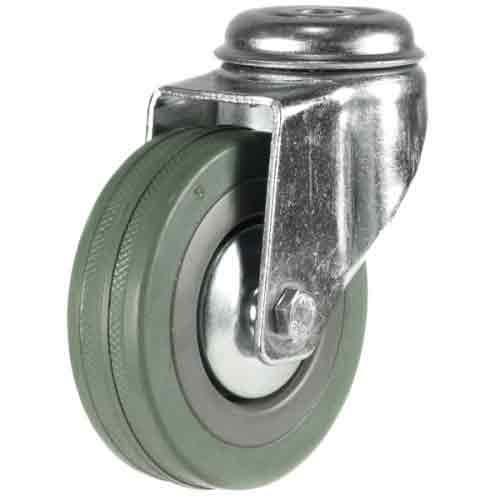 125mm Rubber Non-Marking Bolt Hole Castor