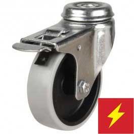 125mm Light Duty Antistatic Non-Marking Rubber Bolt Hole Braked Castor