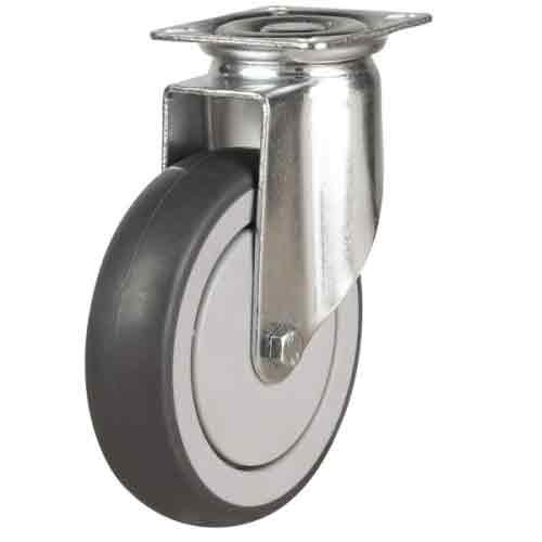 150mm Synthetic Non-Marking Rubber Swivel Castor