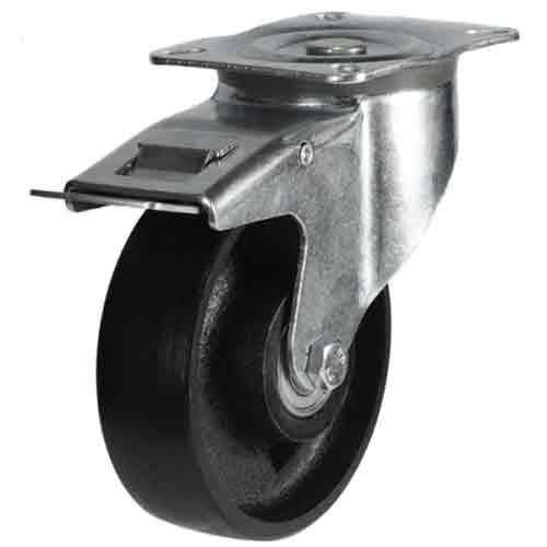 200mm Cast Iron Braked Castor