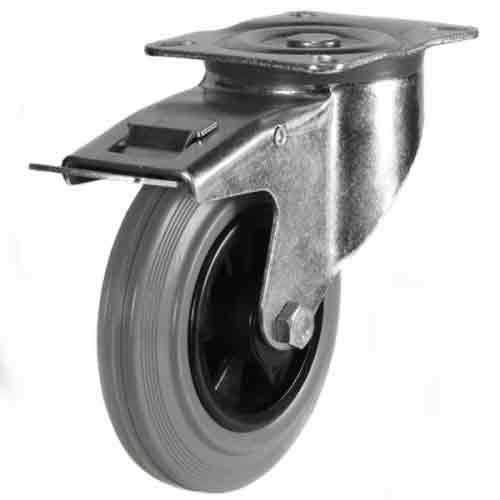 200mm Non-Marking Rubber Bolt Hole Braked Castor