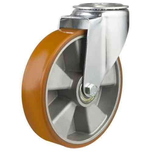200mm Polyurethane On Aluminium Centre Bolt Hole Castor