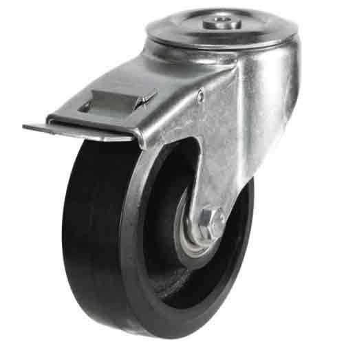 200mm Rubber On Cast Iron Core Bolt Hole Braked Castor