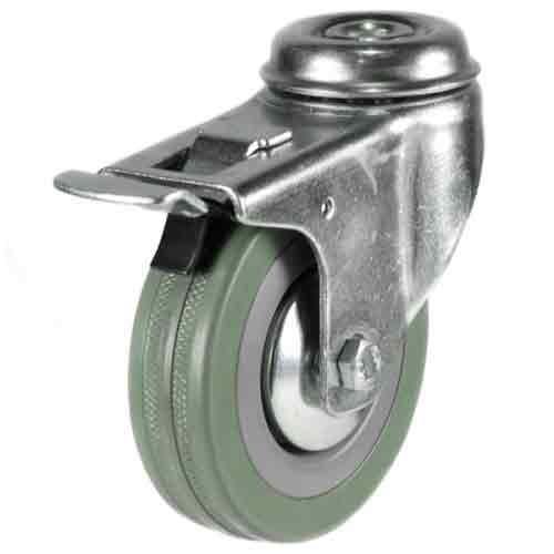 50mm Rubber Non-Marking Bolt Hole Braked Castor