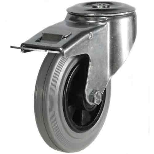 80mm Non-Marking Rubber Bolt Hole Braked Castor