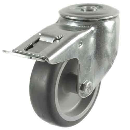 80mm Synthetic Tyre Non-Marking Bolt Hole Braked Castor
