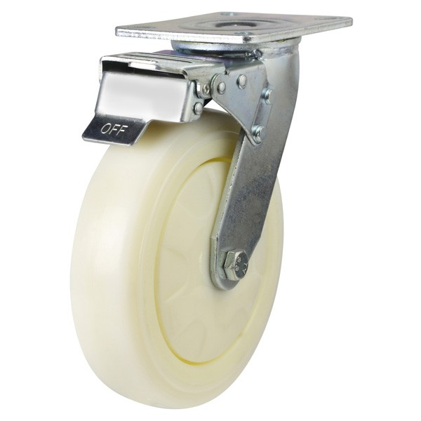 Nylon Braked Castor With Fabricated Bracket