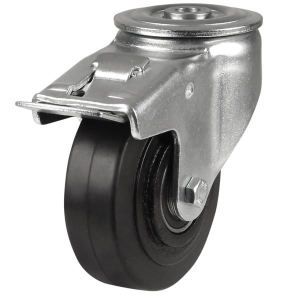 Heavy Duty Polyurethane On Cast Iron Core Bolt Hole Braked Castor