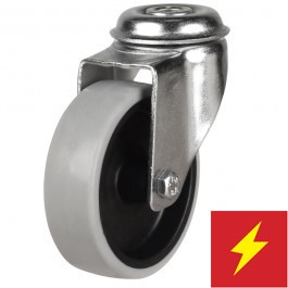 100mm Synthetic Non-Marking Antistatic Rubber Bolt Hole Castor