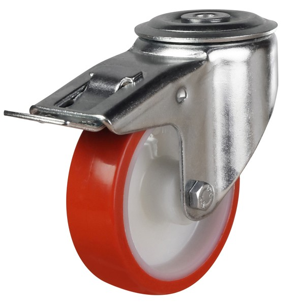 200mm Polyurethane On Nylon Centre Bolt Hole Braked Castor
