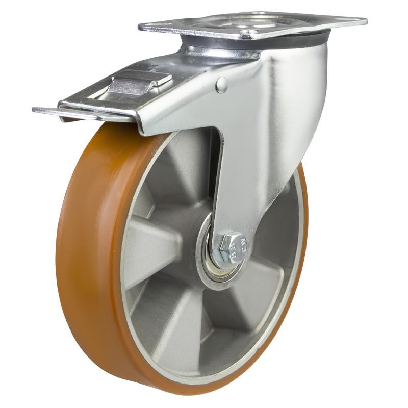 Medium Duty Polyurethane On Aluminium Centre Braked Castors