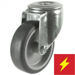 125mm Synthetic Tyre Non-Marking Antistatic Rubber Bolt Hole Braked Castor