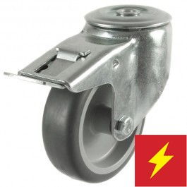 100mm Non-Marking Bolt Hole Braked Castor