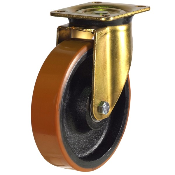Heavy Duty Polyurethane On Cast Iron Centre Swivel Castor