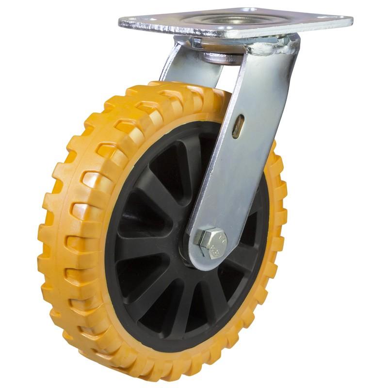 Yellow Polyurethane On Nylon Centre Swivel Castor With Fabricated Bracket