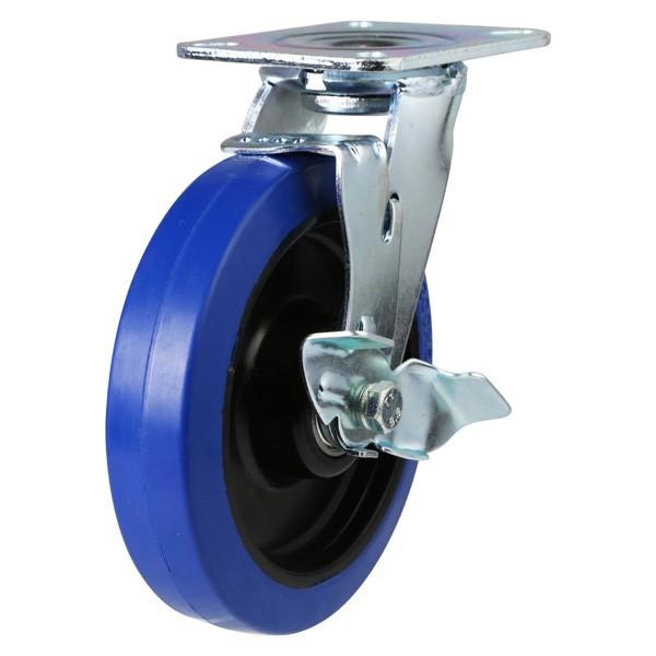 Heavy Duty Elastic Non-Marking Rubber On Nylon Centre Braked Castor
