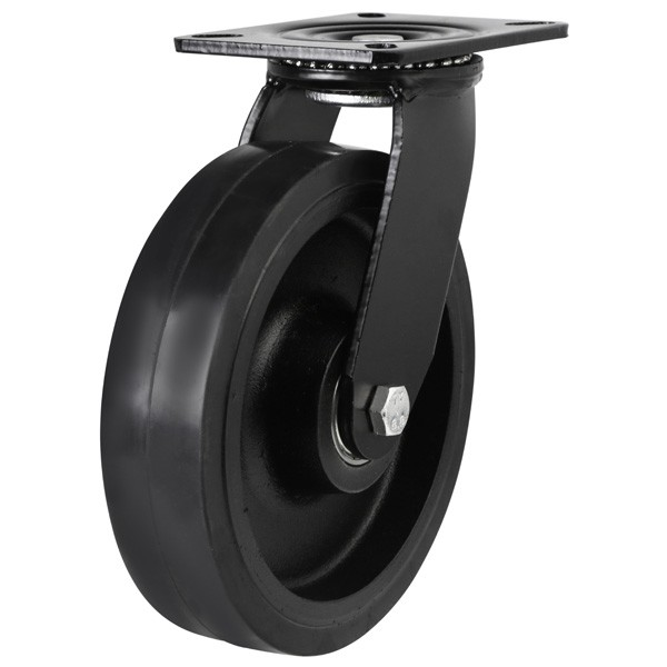Heavy Duty Elastic Rubber On Cast Iron Centre Swivel Castor