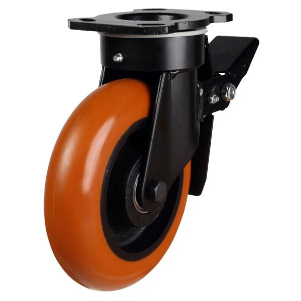 Orange Round Profile Polyurethane On Cast Iron Centre Braked Castor