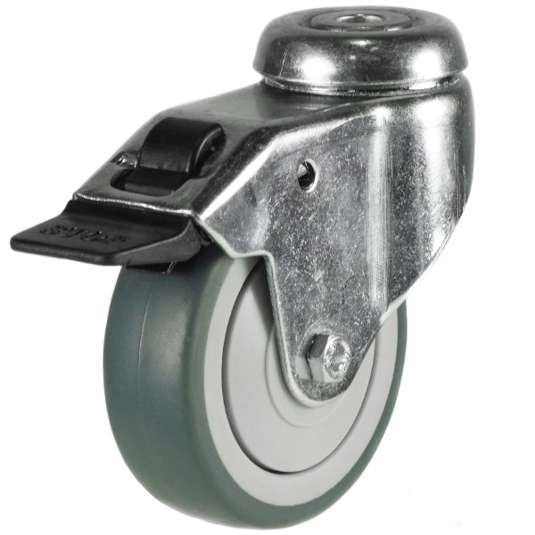 Light Duty Synthetic Non-Marking Rubber Bolt Hole Braked Castor