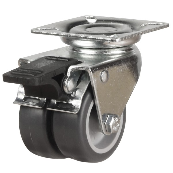 Twin Wheel Synthetic Non-Marking Rubber Swivel Braked Castor