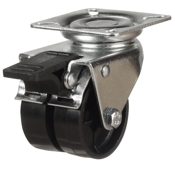 Twin Wheel Nylon Swivel Braked Castor