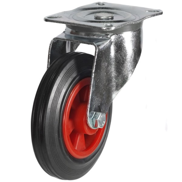 200mm Rubber Tyre On Plastic Centre Swivel Castor