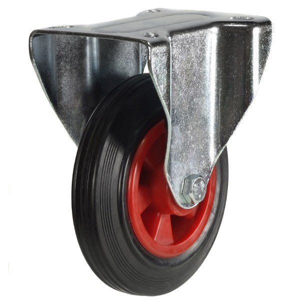 160mm Rubber Tyre On Plastic Centre Fixed Castor