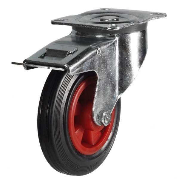 200mm Rubber Tyre On Plastic Centre Braked Castor