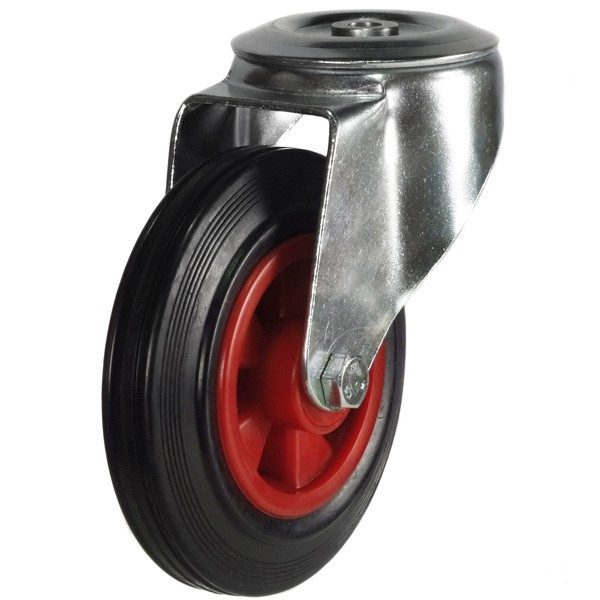 160mm Rubber Tyre On Plastic Centre Bolt Hole Castor