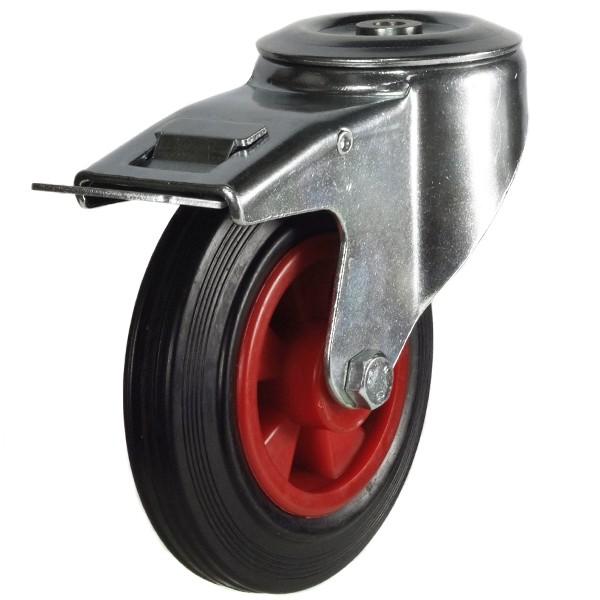200mm Rubber Tyre On Plastic Centre Bolt Hole Braked Castor