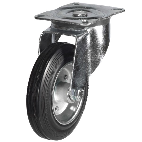200mm Rubber Tyre On Steel Disk Centre Swivel Castor