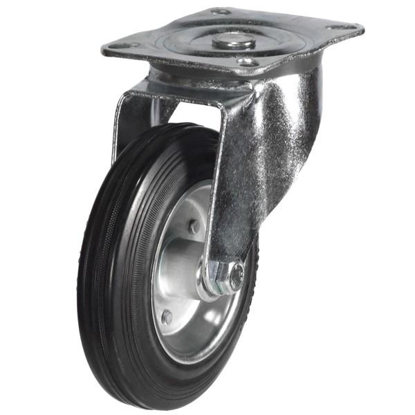 80mm Rubber Tyre On Steel Disk Centre Swivel Castor