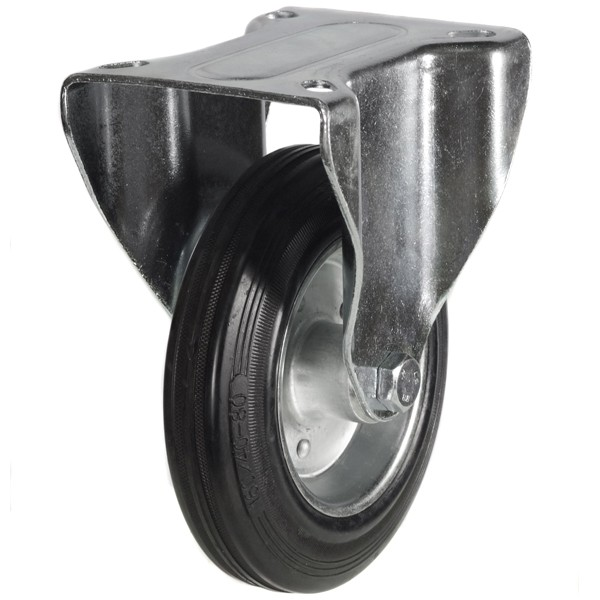 200mm Rubber Tyre On Steel Disk Centre Fixed Castor