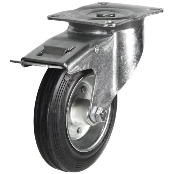 100mm Rubber Tyre On Steel Disk Centre Braked Castor