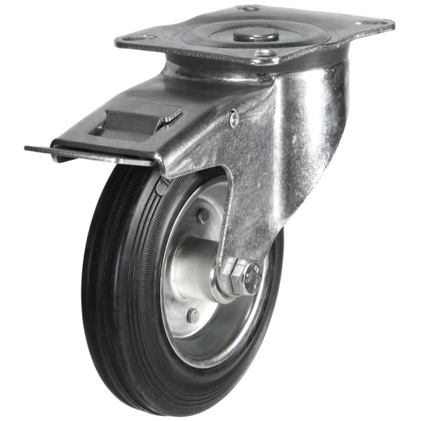 200mm Rubber Tyre On Steel Disk Centre Braked Castor