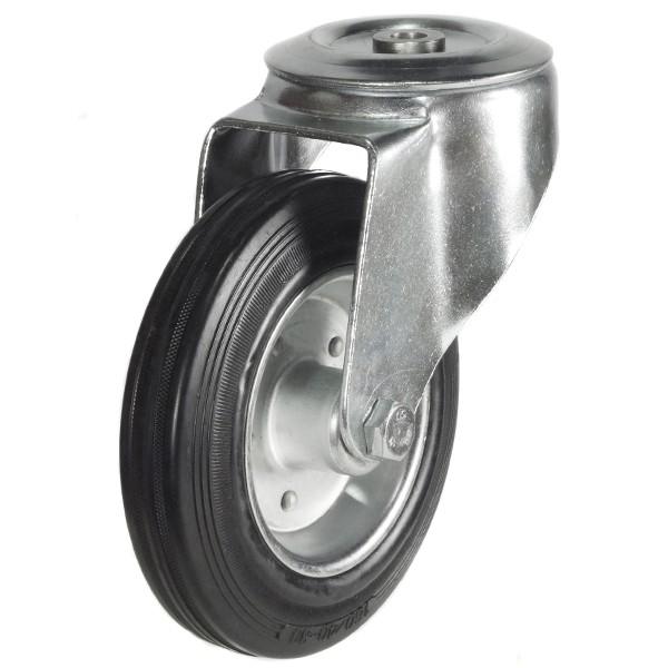 80mm Rubber Tyre On Steel Disk Centre Bolt Hole Castor