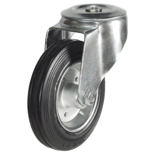 100mm Rubber Tyre On Steel Disk Centre Bolt Hole Castor