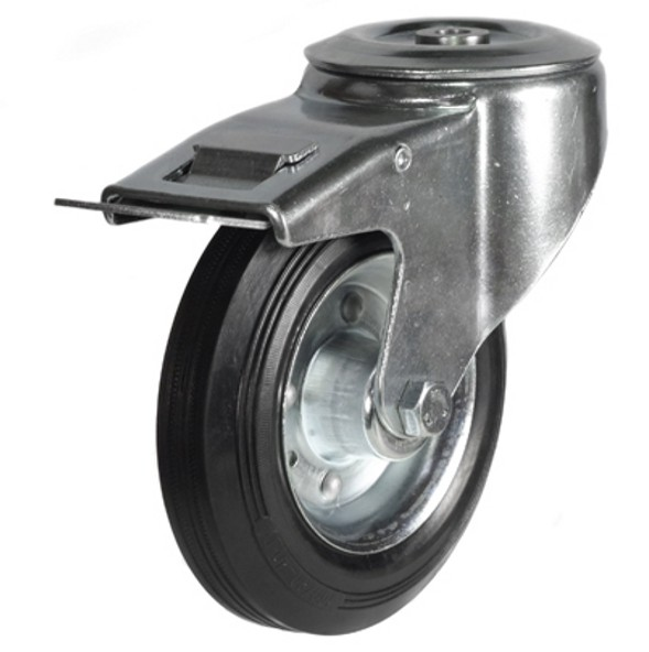 200mm Rubber Tyre On Steel Disk Centre Bolt Hole Braked Castor