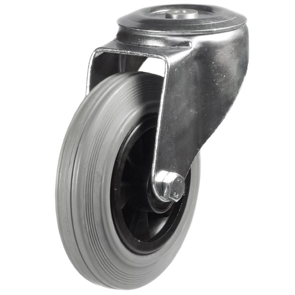Medium Duty Non-Marking Rubber Bolt Hole Castor