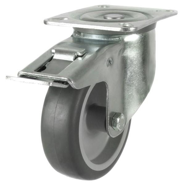 Medium Duty Synthetic Non-Marking Rubber Swivel Braked Castor