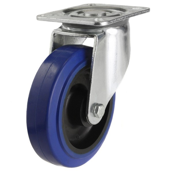 Medium Duty Blue Elastic Rubber Non-Marking Swivel Castor