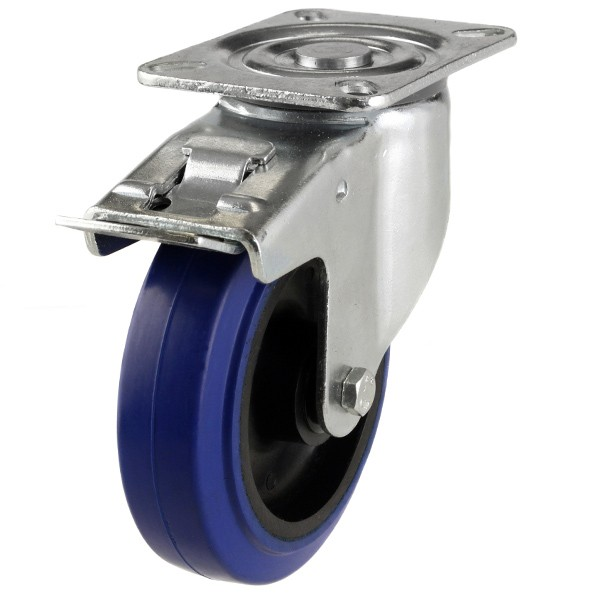 Medium Duty Elastic Non-Marking Rubber On Nylon Centre Braked Castor