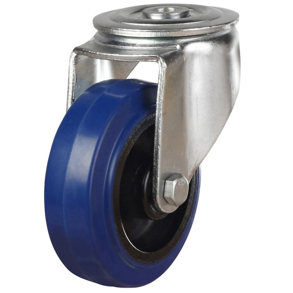 Medium Elastic Blue Rubber Non-Marking Bolt Hole Castor